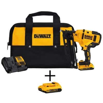 20-Volt Max 16-Gauge Cordless Angled Finish Nailer Kit with Bonus Lithium-Ion Compact Battery Pack 2.0Ah