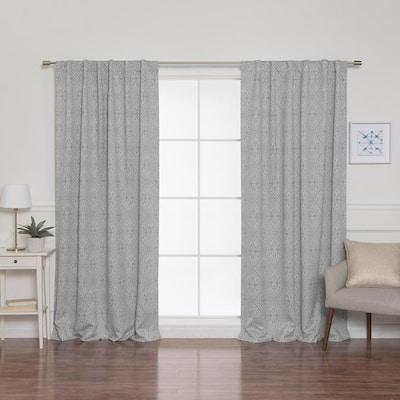 Grey Geometric Back Tab Blackout Curtain - 52 in. W x 84 in. L (Set of 2)