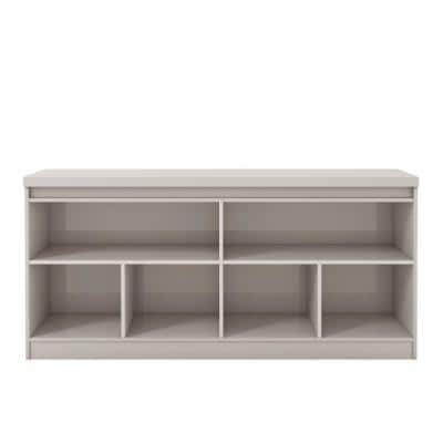 Viennese 62.99 in. Off-White 6-Shelf Buffet Cabinet with Mirrors