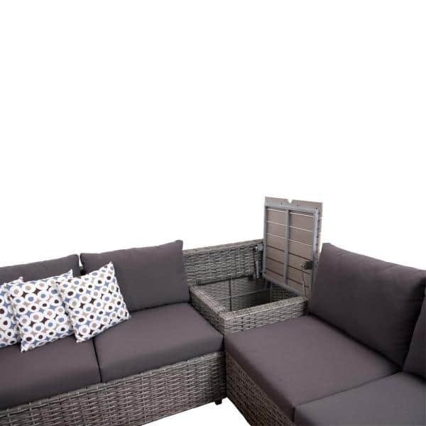 Atlantic Mustang 3 Piece Synthetic Wicker Sectional Patio Set With Grey Cushions Sc Cebu3 The Home Depot