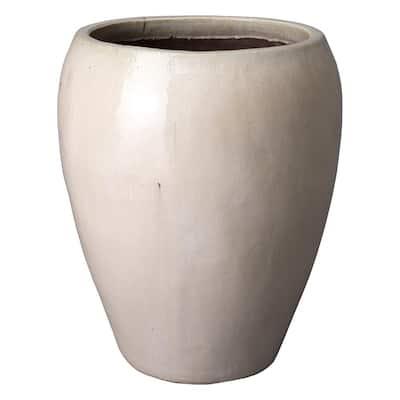 30 in. Round Distressed White Ceramic Tapered Planter