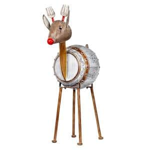 33 in. Tall Weathered Barrel Reindeer With Warm White LED Lights