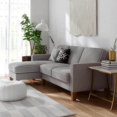 Bowen Gray Sectional Sofa with Contrast Welting