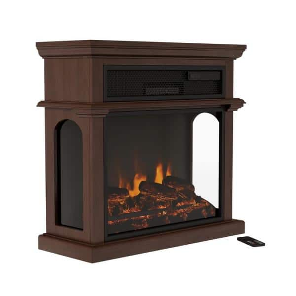 Northwest 29 In Freestanding Electric Fireplace With Mantel In Brown Hw0200154 The Home Depot