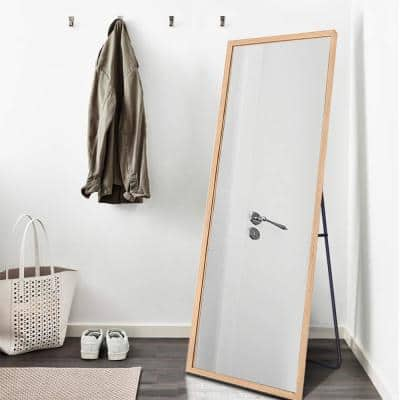Oversized Natural Wood Shatter Resistant Classic Glam Mirror (64 in. H X 21 in. W)