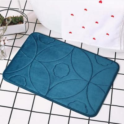 Cozy Cotton Candy Soft Teal Ogee 17 in. x 24 in. Non-Slip Memory Foam Super Absorbent Bath Rug