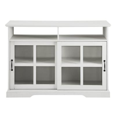 Brushed White Wood and Glass Classic Sideboard with 2-Sliding Doors