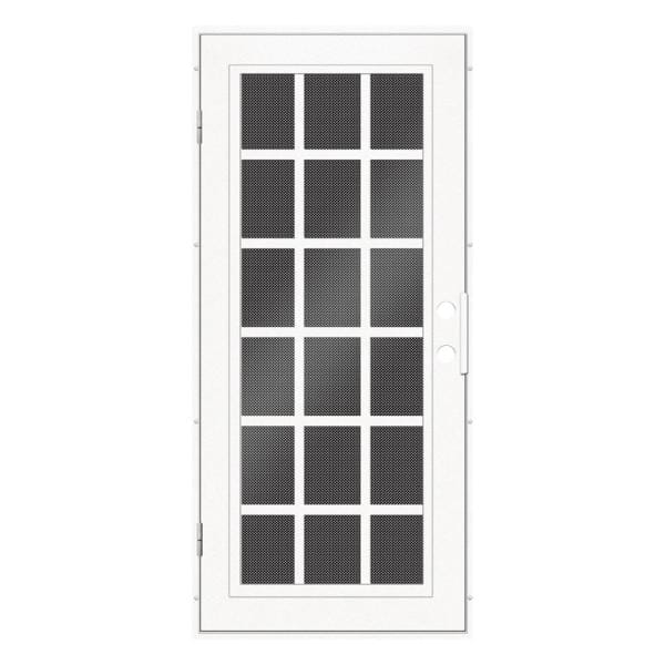 Unique Home Designs 36 In X 80 In Classic French White Right Hand Surface Mount Aluminum Security Door With Black Perforated Screen 1s2026el2whp5a The Home Depot