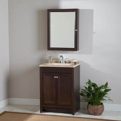 Delridge 24 in. W x 35 in. H x 19 in. D Bathroom Vanity in Chocolate with Solid Surface Vanity Top in Caramel
