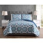 Mhf Home Sampson Blue Medallion Full/Queen Quilt Set