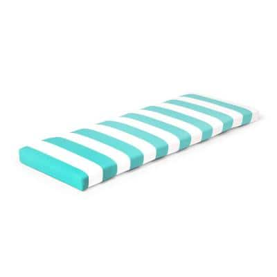 46.5 in. x 17.5 in. x 3 in. Awning Stripe Seaglass Outdoor Bench Cushion
