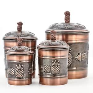 4-Piece 4 Qt., 2 Qt., 1 Qt., 1 Qt. Antique Copper ''Pineapple'' Canister Set