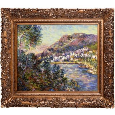 """""""Monte Carlo Seen from Roquebrune, 1884 with Burgeon Gold Frame"""" by Claude Monet Oil Painting"""