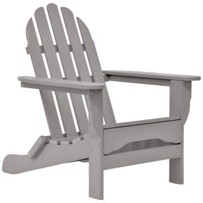 Icon Light Gray Non-Folding Plastic Adirondack Chair