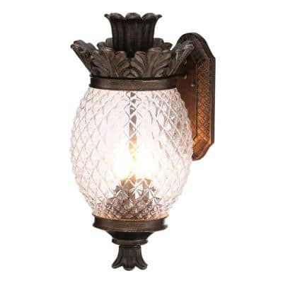 3-Light Bronze Outdoor Pineapple Coach Light Sconce with Patterned Glass