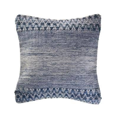 Weathered Blue / Ivory 20 in. x 20 in. Textured Throw Pillow