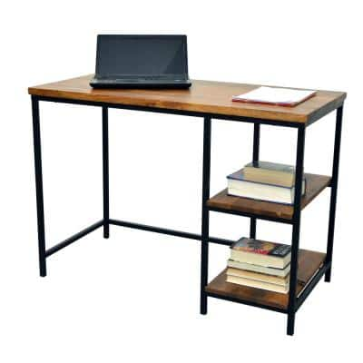 42 in. Rectangular Chestnut/Black Writing Desks with Solid Wood Top