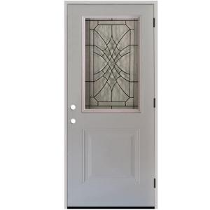 32 in. x 80 in. Webville Half LiteWhite Primed Steel Entry Door Left-Hand Outswing with 6 in Wall
