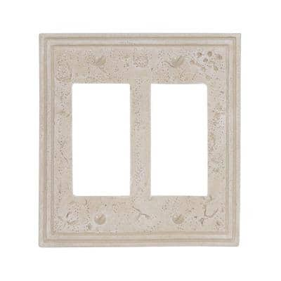 Faux Stone 2 Gang Rocker Resin Wall Plate - Almond