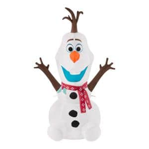 4 ft Pre-Lit LED Disney Airblown Olaf with Red Scarf Christmas Inflatable