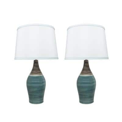 27-1/2 in. Brown and Blue Ceramic Table Lamp with Hardback Empire Shaped Lamp Shade in White (2-Pack)