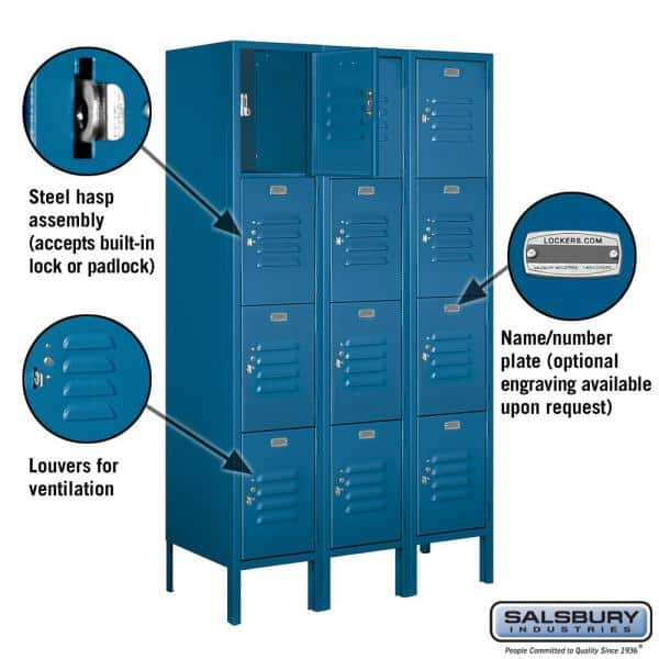 Salsbury Industries 64000 Series 4 Tier 36 In W X 66 In H X 15 In D Metal Locker Assembled In Blue 64355bl A The Home Depot