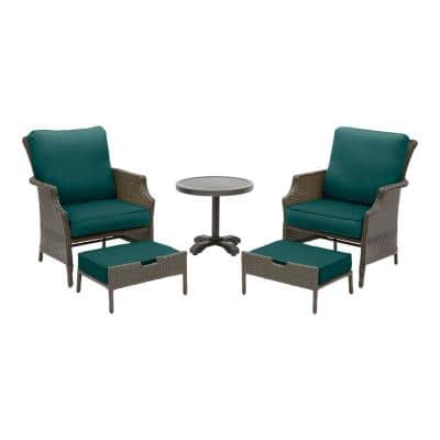 Grayson 5-Piece Ash Gray Wicker Outdoor Patio Small Space Seating Set with CushionGuard Malachite Green Cushions