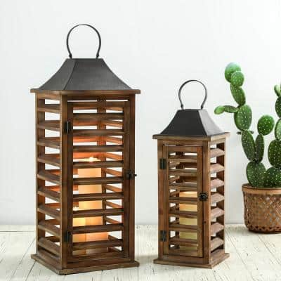 Farmhouse Natural Brown Wooden Shutter Lanterns (Set of 2)