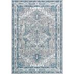 Modern Persian Vintage Medallion Light Grey/Blue 5 ft. x 8 ft. Area Rug