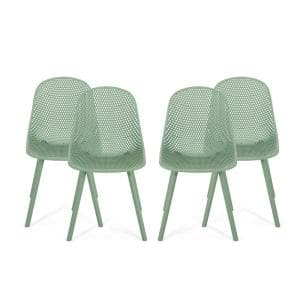 Posey Green Plastic Outdoor Dining Chair (4-Pack)