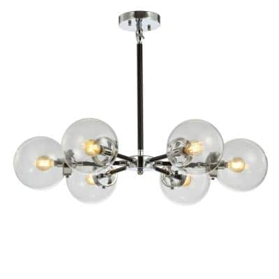 Caleb 28 in. 6-Light Chrome/Black Brass Cluster Pendant