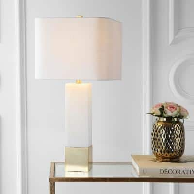 Jeffrey 29 in. Brass Gold/White Metal/Marble LED Table Lamp