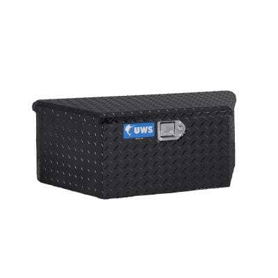 """Gloss Black Aluminum 34"""" Trailer Tongue Box with Low Profile (Heavy Packaging)"""