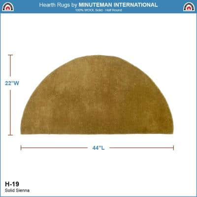 2 ft. x 4 ft. Sienna Half Round Hearth Rug, Yellow