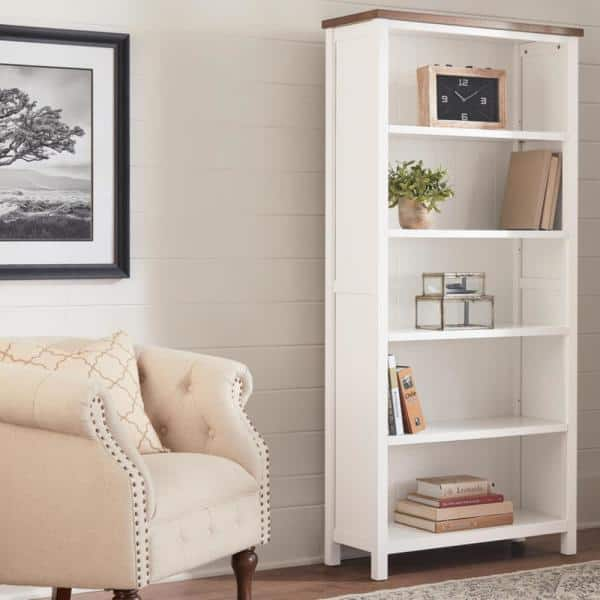 Home Decorators Collection 68 8 In White Haze Wood 5 Shelf Standard Bookcase With Adjustable Shelves Sk19346d W The Home Depot