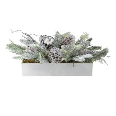 9 in. H x 19.5 in. W Christmas Flocked Berries Pinecones and Foliage Filled Decorative Box