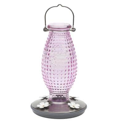 Cranberry Hobnail Decorative Glass Hummingbird Feeder - 16 oz. Capacity