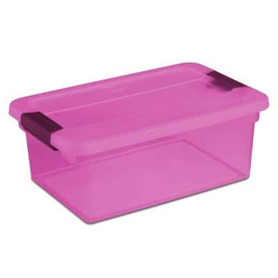 ClearView Latch 15 Qt. Plastic Storage Container, Purple (24-Pack)