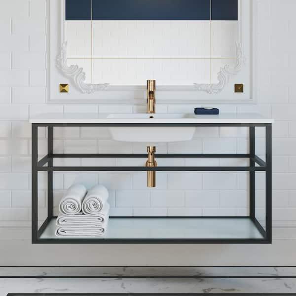 Swiss Madison Pierre 48 In Single Metal Frame Open Shelf Bathroom Vanity In Black Vanity Top In White With White Basin Sm Bv554 The Home Depot
