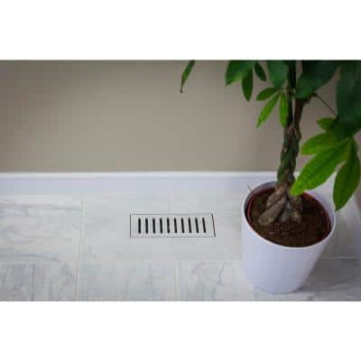 Made2Match Metro Charcoal Glazed Porcelain Wide Grain 5 in. x 11 in. Floor Vent Tile Edging Trim