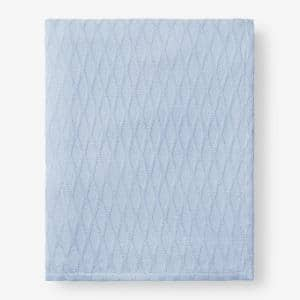 Cotton Bamboo Misty Blue King Woven Blanket