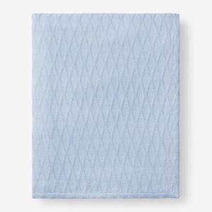Cotton Bamboo Misty Blue Queen Woven Blanket