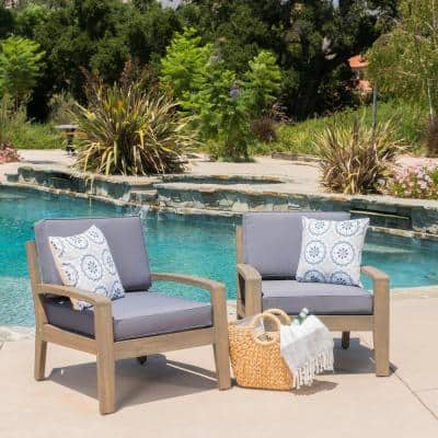 Grenada Grey Stationary Wood Outdoor Lounge Chair with Dark Grey Cushion (2-Pack))