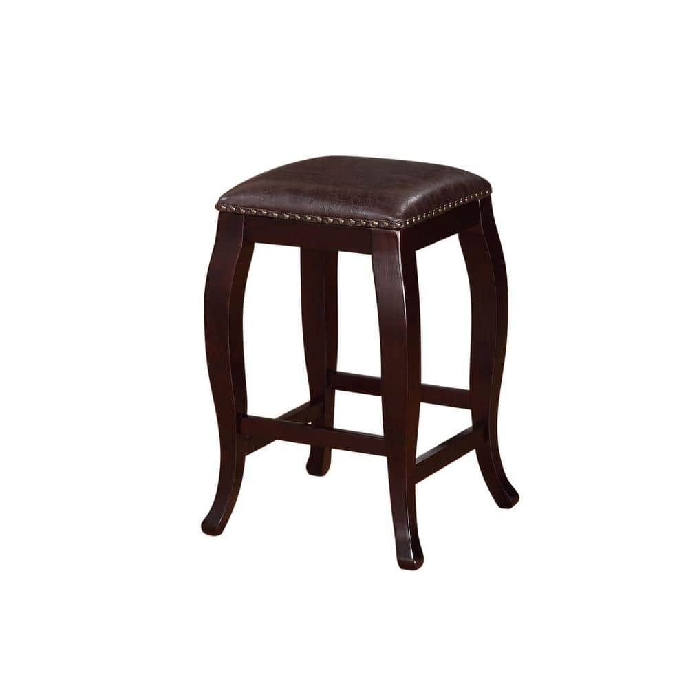 Linon Home Decor San Francisco 24 In Brown Wenge Cushioned Bar Stool 178204brn01 The Home Depot