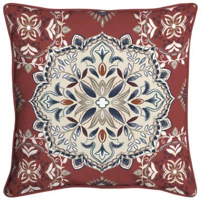 Chili Medallion Welted Outdoor Throw Pillow