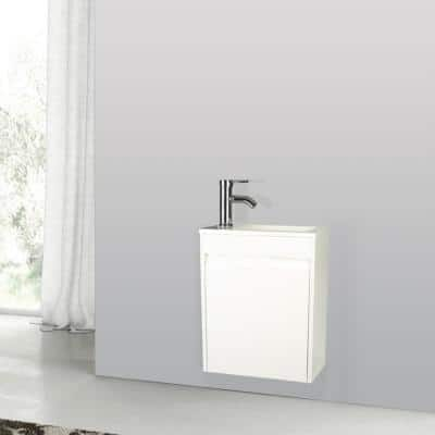 9.8 in. W x 16 in. D Bath Vanity in White with MDF Vanity Top in White with White Basin