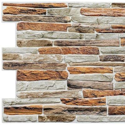 3D Falkirk Retro III 39 in. x 20 in. Orange Faux Stone PVC Decorative Wall Paneling