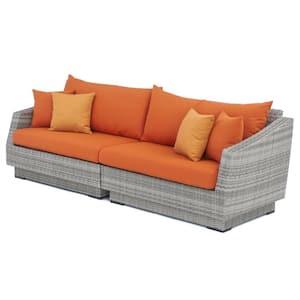 Cannes 2-Piece All-Weather Wicker Patio Sofa with Sunbrella Tikka Orange Cushions
