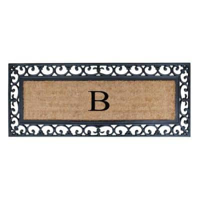 A1HC First Impression Myla 17.7 in. x 47.25 in. Monogrammed Rubber and Coir Monogrammed B Door Mat