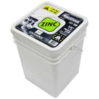 3/8 in. x 45 ft. Zinc-Plated Grade 30 (G30) Proof Coil Chain - 2,650 lbs Safe Work Load - Plastic Bucket